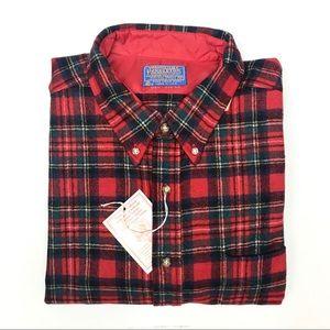 NWT NEW Pendleton Button Down Red Wool Tartan XL